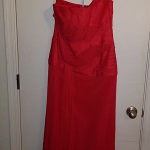 White by Vera Wang Red Chiffon/ Tule Gown